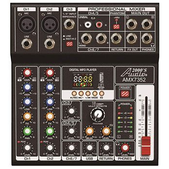 Audio2000'S AMX7352 Seven-Channel Audio Mixer with USB 5V Power Supply, USB Interface, and Sound Effect